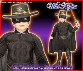 BOYS DELUXE MUSCLE CHEST ZORRO MED AGE 5-7