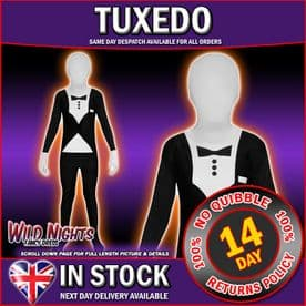 """CHILDS BOYS TUXEDO MORPHSUIT PARTY FANCY DRESS COSTUME LARGE 10- 12  4' 6"""" TO 5' HEIGHT"""