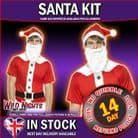 CHRISTMAS FANCY DRESS COSTUME # Christmas Santa Instant Kit, with Printed T-Shirt, Hat and Beard
