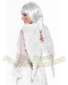 CHRISTMAS FANCY DRESS # FEATHER ANGEL WINGS WHITE 60cm