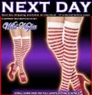 CHRISTMAS FANCY DRESS # RED / WHITE SPARKLE THIGH HIGH LUREX STOCKINGS