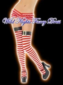 CHRISTMAS FANCY DRESS # RED / WHITE STRIPED STOCKINGS