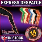 FANCY DRESS ACCESSORIES ~ ADULT 1980's BOLD SOLID COLOUR OPAQUE TIGHTS: Small- Royal