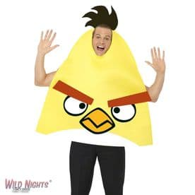 FANCY DRESS COSTUME # ADULT GAMING CARTOON ANGRY BIRDS YELLOW MED 38