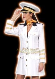 FANCY DRESS COSTUME * DELUXE OFFICERS LADY WHITE MED