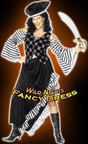FANCY DRESS COSTUME # DELUXE PIRATE LADY BLACK SM 8-10