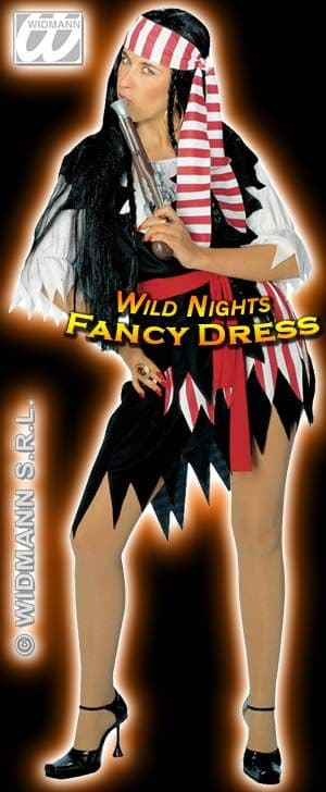 FANCY DRESS COSTUME = DELUXE PIRATE LADY MED 10-14