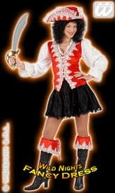FANCY DRESS COSTUME = DELUXE REGAL PIRATE LADY RED MED