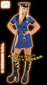 FANCY DRESS COSTUME = DELUXE SEXY POLICE GIRL MED 10-12