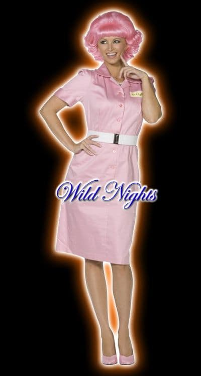 FANCY DRESS COSTUME # GREASE FRENCHY DRESS MED 12-14