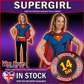 FANCY DRESS COSTUME ~ LADIES DC SUPERGIRL T-SHIRT TOP WITH CAPE LG 12-14