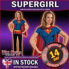 FANCY DRESS COSTUME ~ LADIES DC SUPERGIRL T-SHIRT TOP WITH CAPE MED 10-12