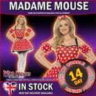 FANCY DRESS COSTUME # LADIES FEVER RED & WHITE MADAME MOUSE SM 8-10