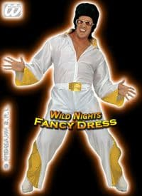 FANCY DRESS COSTUME =XL DELUXE THE KING WHITE/GOLD