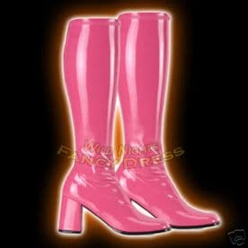 FANCY DRESS  GOGO-300 60s / 70s BOOTS HOT PINK