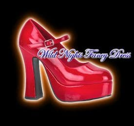 FANCY DRESS SHOES # DOLLY RED PLATFORM SHOES SIZE 5