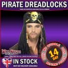 FANCY DRESS WIG # MENS PIRATE DREADLOCKS WITH BANDANA & BEADS
