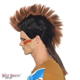 FANCY DRESS WIG # MENS WILD WEST COWBOY & INDIAN MALE MOHICAN WIG BROWN