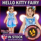 Girls Hello Kitty Butterfly Fairy Costume Age 7-9 Years