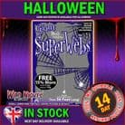 HALLOWEEN ACCESSORY ~ GIANT BLACK SPIDERWEB WITH 8 SPIDERS