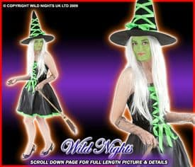 HALLOWEEN COSTUME SEXY RIBBON WITCH GREEN