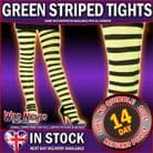 HALLOWEEN FANCY DRESS # PLUS SIZE STRIPED WITCH TIGHTS BLACK / GREEN