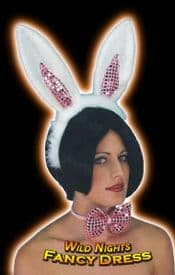HEN PARTY # PINK / WHITE BUNNY GIRL SET EARS / BOW TIE