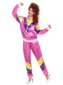 LADIES 1980'S SCOUSER PINK SHELL SUIT TRACKSUIT