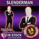 MENS ADULT SLENDER MAN MORPHSUIT FANCY DRESS COSTUME