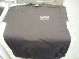 185083 / FRUIT OF THE LOOM BLACK T SHIRT (MUSICAL THEME FRONT AND BACK) - NEW / UNWORN