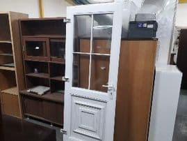 186385 / WHITE PLASTIC DOUBLE GLAZED DOOR (NO FRAME OR KEY) - H198 X W79CM